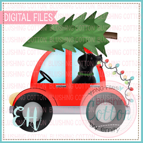CHRISTMAS RED CAR WITH BLACK LAB - BCEH
