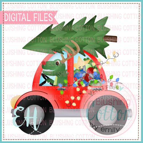 CHRISTMAS RED CAR WITH DINO - BCEH
