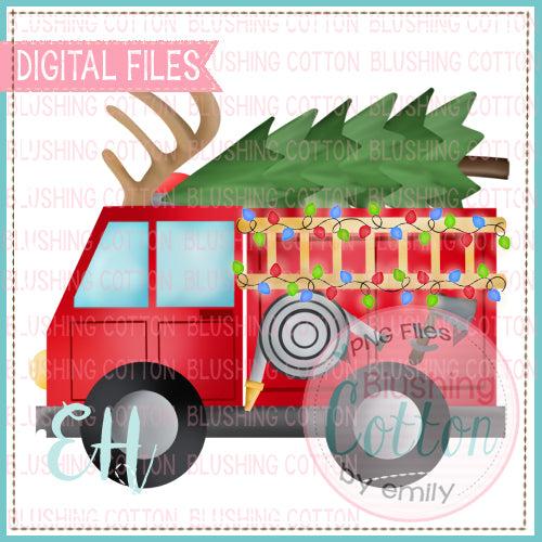 FIRETRUCK WITH ANTLERS AND TREE - BCEH