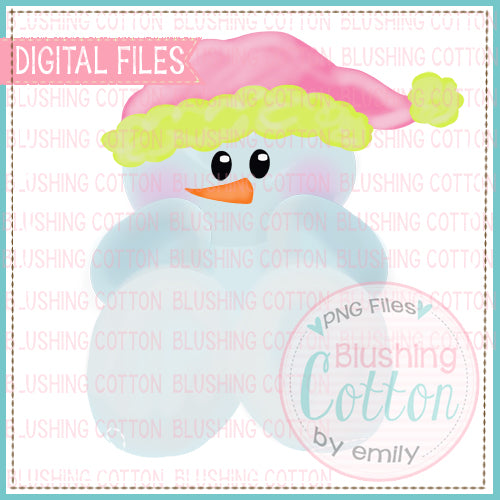 BABY CHRISTMAS SNOWMAN PINK WATERCOLOR DESIGN BCEH
