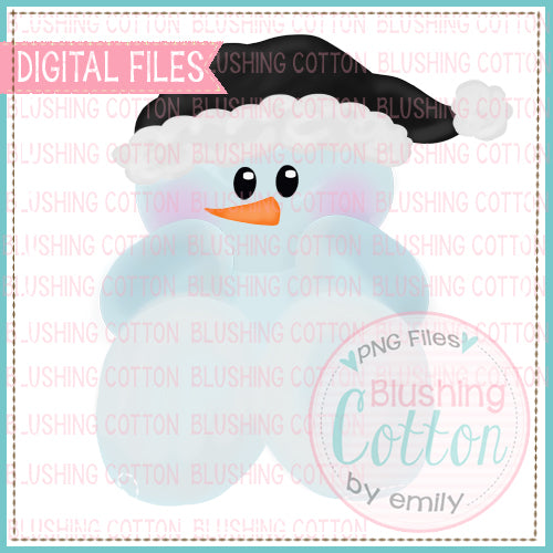 BABY SNOWMAN BLACK AND WHITE WATERCOLOR DESIGN BCEH