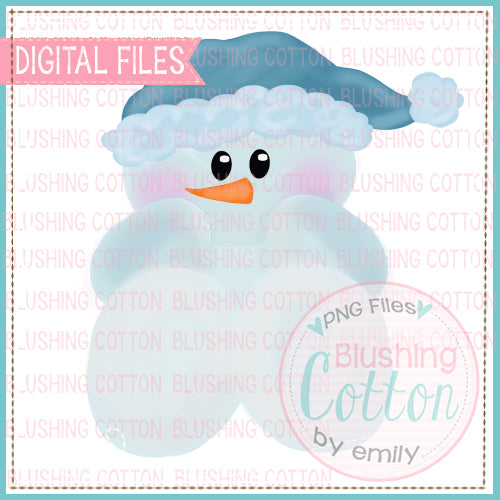 BABY WINTER SNOWMAN BLUE WATERCOLOR DESIGN BCEH
