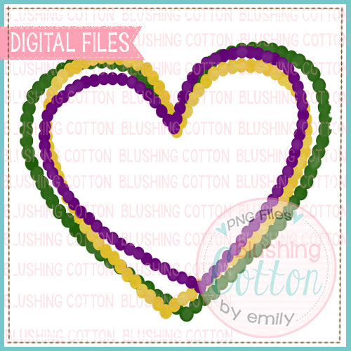 MARDI GRAS BEADS HEART WATERCOLOR DESIGN BCEH