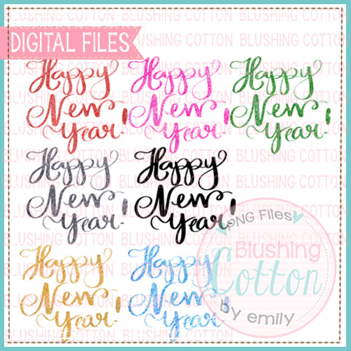 HAPPY NEW YEAR WORDING IN GLITTER WATERCOLOR DESIGN BCEH