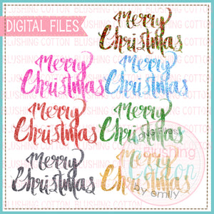 MERRY CHRISTMAS WORDING IN GLITTER SET WATERCOLOR DESIGN BCEH