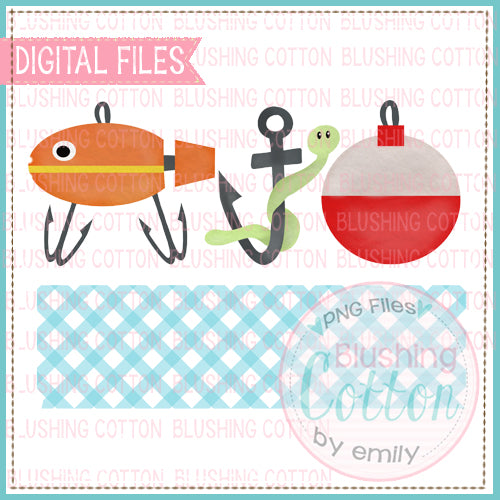 FISHING TRIO WITH NAME PLATE WATERCOLOR DESIGN BCEH