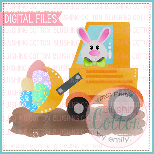 EASTER BUNNY FRONT END LOADER WATERCOLOR DESIGN BCEH