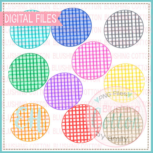 GRUNGE CHECK CIRCLE BACKGROUND SET   BCEH