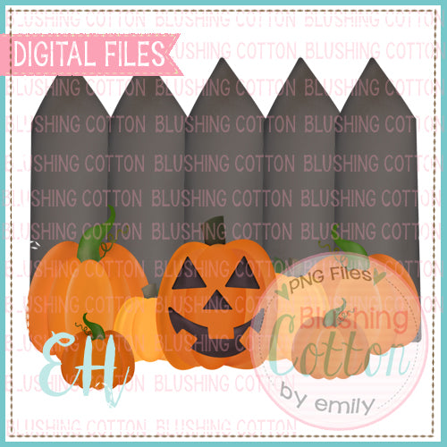 HALLOWEEN FENCE WITH PUMPKINS WATERCOLOR DESIGN BCEH