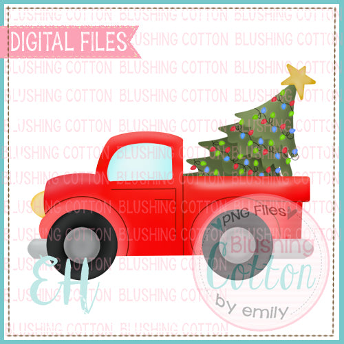 CHRISTMAS TREE TRUCK RED   BCEH