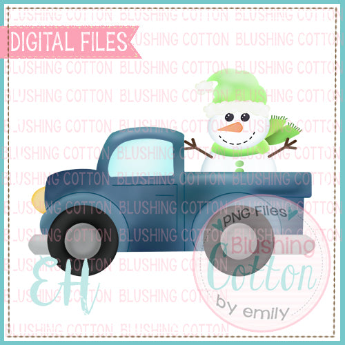 SNOWMAN TRUCK DUSTY BLUE  BCEH