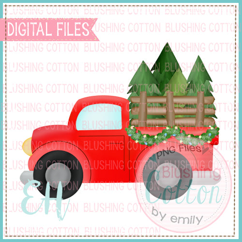 TREE TRUCK WITH GARLAND RED  BCEH