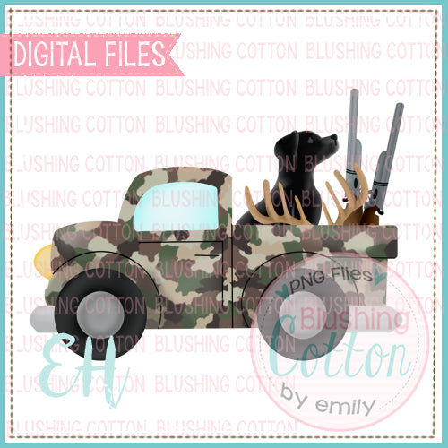 CAMO DEER HUNTING TRUCK WITH BLACK LAB BCEH