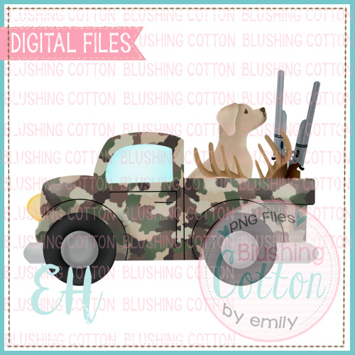 CAMO DEER HUNTING TRUCK WITH YELLOW LAB BCEH