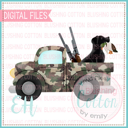 CAMO DUCK HUNTING TRUCK WITH BLACK LAB BCEH
