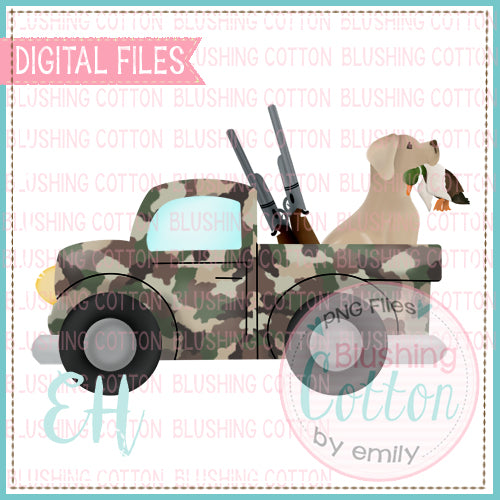CAMO DUCK HUNTING TRUCK WITH YELLOW LAB  BCEH