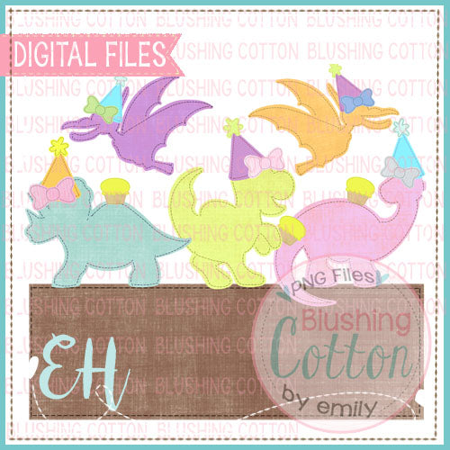 FAUX APPLIQUE DINOS BIRTHDAY GIRLS WITH NAMEPLATE    BCEH