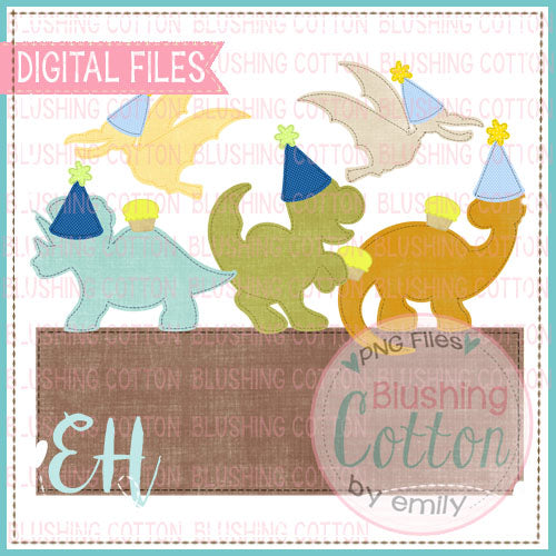 FAUX APPLIQUE DINOS BIRTHDAY WITH NAMEPLATE - BCEH