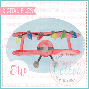 CROP DUSTER RED CHRISTMAS LIGHTS BLUE FRAME BCEW