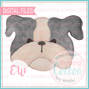 BULLDOG GREY FACE DESIGN WATERCOLOR PNG BCEW