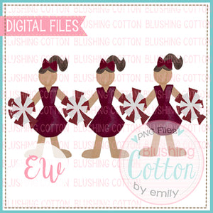 CHEERLEADER TRIO MAROON AND WHITE DESIGN WATERCOLOR PNG BCEW