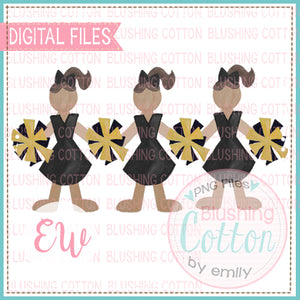 CHEERLEADER TRIO BLACK AND GOLD DESIGN WATERCOLOR PNG BCEW