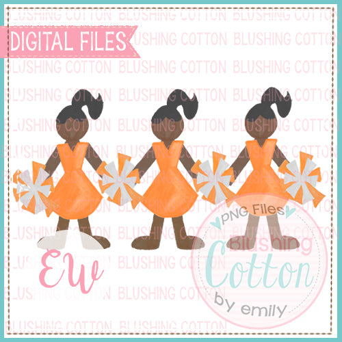 CHEERLEADER TRIO AFRICAN AMERICAN IN ORANGE AND WHITE UNIFORM WATERCOLOR DESIGN DIGITAL FILE