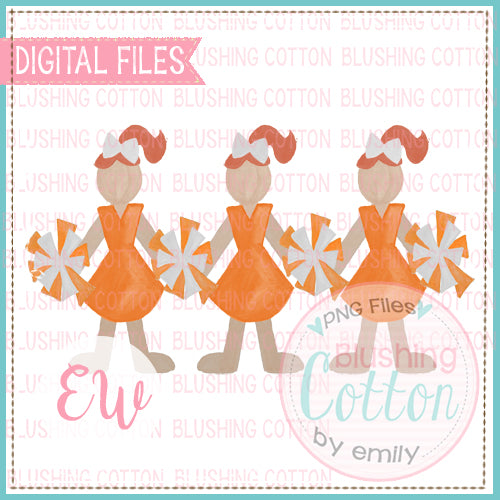 CHEERLEADER TRIO WITH ORANGE AND WHITE UNIFORMS AND RED HAIR DESIGN WATERCOLOR PNG BCEW