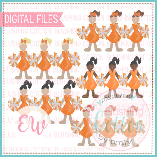 CHEERLEADER TRIO ORANGE AND WHITE WITH ALL COLOR HAIR PLUS AFRICAN AMERICAN SET WATERCOLOR PNG BCEW
