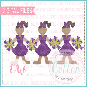CHEERLEADER TRIO PURPLE AND YELLOW DESIGN WATERCOLOR PNG BCEW