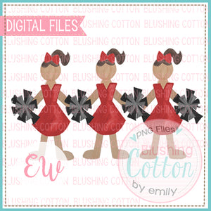 CHEERLEADER TRIO RED AND BLACK DESIGN WATERCOLOR PNG BCEW