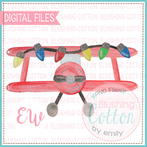 CROP DUSTER RED WITH CHRISTMAS LIGHTS BCEW