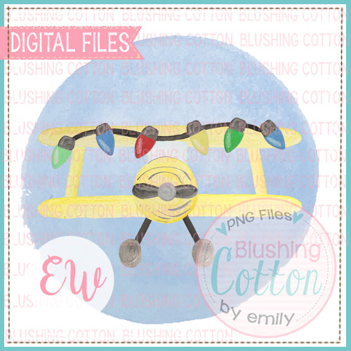 CROP DUSTER YELLOW WITH CHRISTMAS LIGHTS BLUE FRAME BCEW