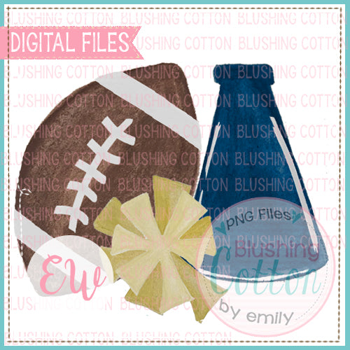 FOOTBALL MEGAPHONE POMPOMS NAVY AND GOLD DESIGN WATERCOLOR PNG BCEW