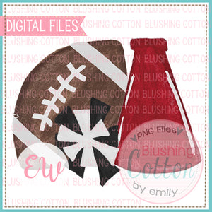 FOOTBALL MEGAPHONE POMPOM CRIMSON AND BLACK WATERCOLOR DESIGN DIGITAL FILE BCEW