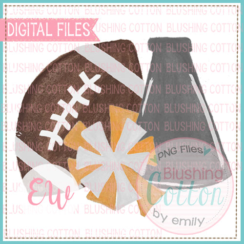 FOOTBALL MEGAPHONE POMPOM GRAY ORANGE WHITE DESIGN WATERCOLOR PNG BCEW