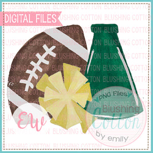 FOOTBALL MEGAPHONE POMPOM HUNTER GREEN AND YELLOW DESIGN WATERCOLOR PNG BCEW