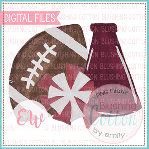 FOOTBALL MEGAPHONE POMPOM MAROON DESIGN WATERCOLOR PNG BCEW