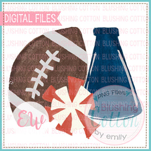 FOOTBALL MEGAPHONE POMPOM NAVY AND RED DESIGN WATERCOLOR PNG BCEW