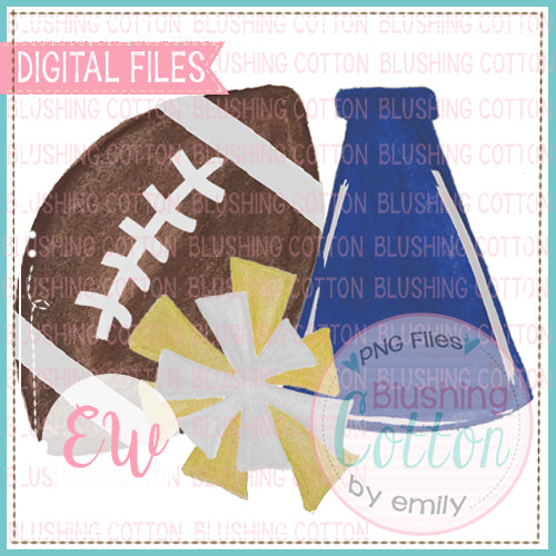FOOTBALL MEGAPHONE POMPOM ROYAL BLUE YELLOW AND WHITE DESIGN WATERCOLOR PNG BCEW