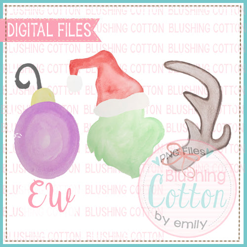 GREEN CHRISTMAS TREE THEIF TRIO DESIGN WATERCOLOR DESIGN PNG BCEW