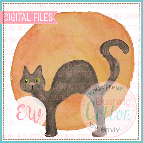 BLACK CAT MOON WATERCOLOR PNG