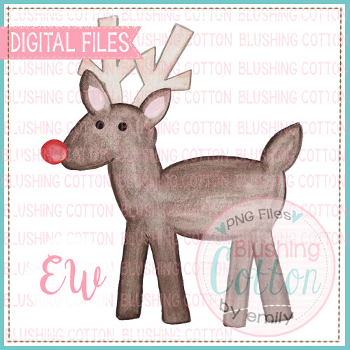RED NOSE REINDEER WATERCOLOR PNG BCEW