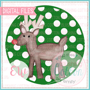 RED NOSE REINDEER GREEN DOT CIRCLE WATERCOLOR PNG BCEW