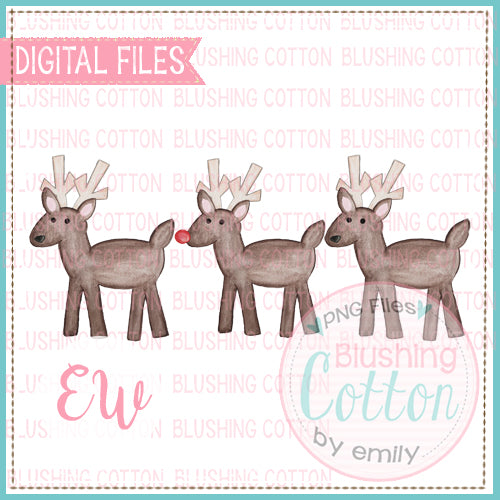 REINDEER TRIO WITH WATERCOLOR PNG BCEW