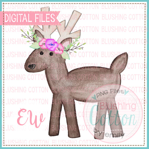 REINDEER1 WITH FLOWERS WATERCOLOR PNG BCEW