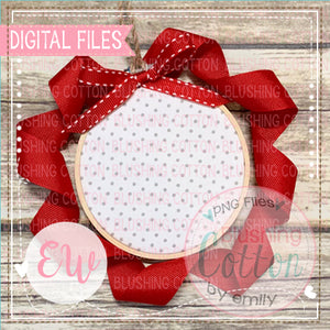DIGITAL FILE ONLY  MOCK UP ORNAMENT GREY DOTS RED RIBBON    BCEW