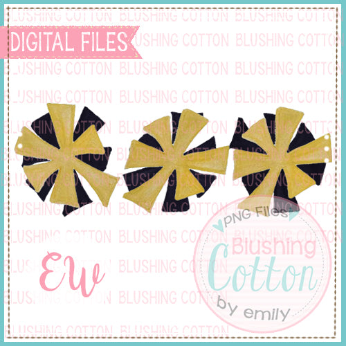POMPOMS BLACK AND GOLD TRIO DESIGN WATERCOLOR PNG BCEW