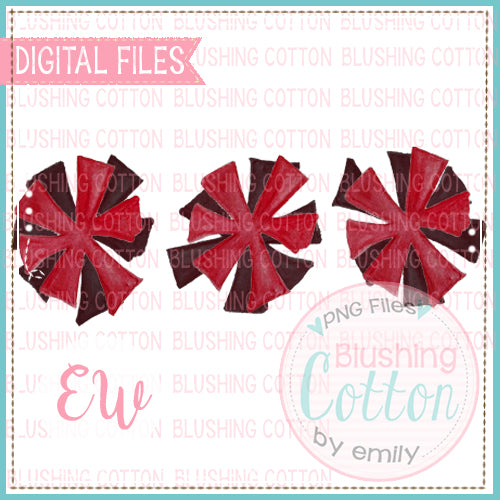 POMPOMS CRIMSON AND BLACK TRIO DESIGN WATERCOLOR PNG BCEW