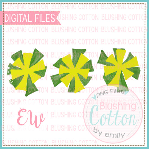 POMPOMS GREEN AND YELLOW TRIO DESIGN WATERCOLOR PNG BCEW